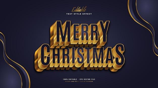 Wesołych świąt tekst w luksusowym kolorze niebieskim i złotym z wytłoczonym efektem 3d. edytowalny efekt stylu tekstu