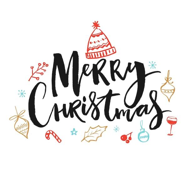 Wesołych świąt tekst wakacje wektor ilustracja z ręcznie napisem świąteczne gryzmoły