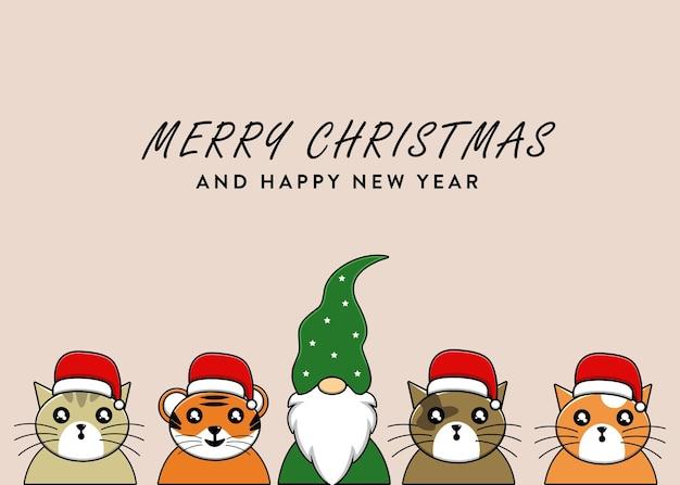 Wesołych świąt tło z gnomem i kotami