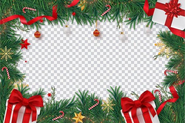 Wesołych świąt tło z realistyczną dekoracją świąteczną