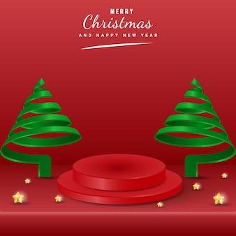 Wesołych świąt transparent z zielonym spiralnym drzewem, elementem gwiazdy i wyświetlaczem produktu na podium