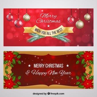 Wesołych świąt transparenty z ozdobnymi kulkami