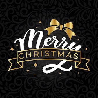 Wesołych świąt typografia z kokardą