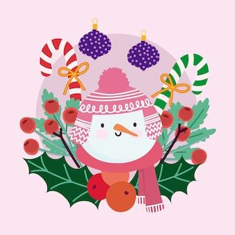 Wesołych świąt uroczy bałwanek kulki cukierki laska ostrokrzew jagodowy dekoracja