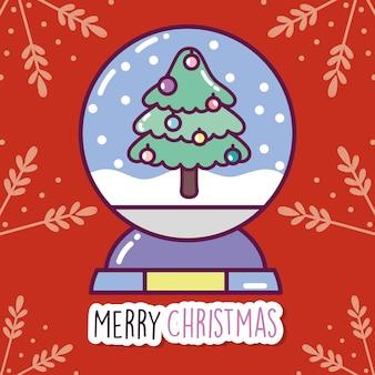 Wesołych świąt uroczystości dekoracyjne drzewo kryształowej kuli oddziałów tło