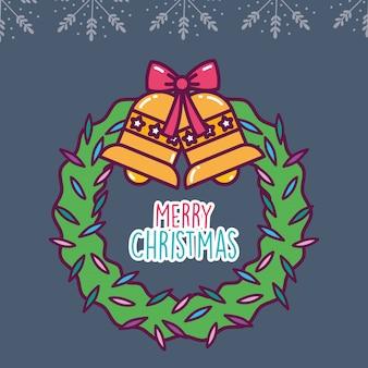 Wesołych świąt uroczystości wieniec dzwony łuk dekoracji