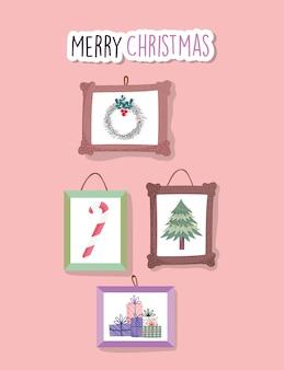 Wesołych świąt uroczystości wiszące ramki dekoracji ściany