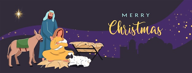 Wesołych świąt w tle świąteczna scena z dzieciątkiem jezus z maryją i józefem w otoczeniu gwiazdy c