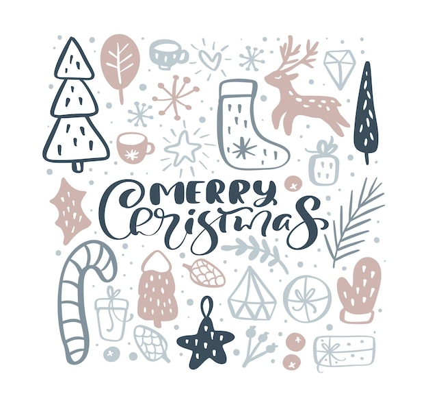 Wesołych świąt wektor kaligraficzna napis tekst i boże narodzenie doodle elementy skandynawskie.