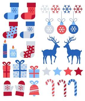 Wesołych świąt wektor płaskie ilustracje zestaw niebieskie i czerwone stylowe elementy świąteczne