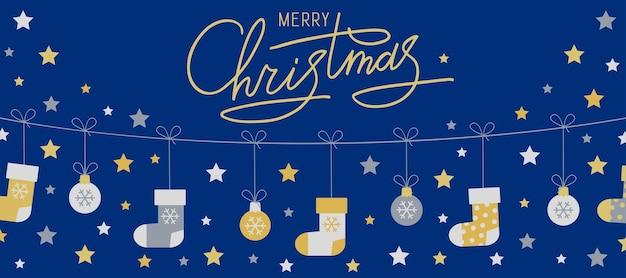 Wesołych świąt wektor szablon karty z pozdrowieniami ze świątecznymi symbolami gwiazd świąteczne skarpetki