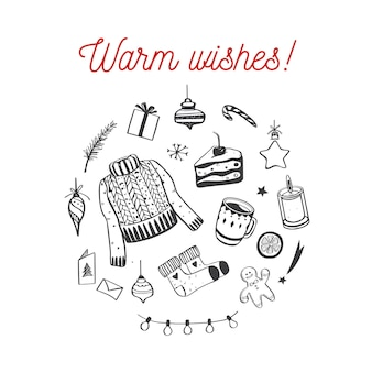 Wesołych świąt, wesołych świąt i nowego roku przytulna świąteczna kolekcja
