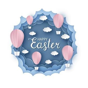 Wesołych świąt wielkanocna kartka z życzeniami w stylu cięcia papieru i tratwy papierowe balony na tle chmur papieru