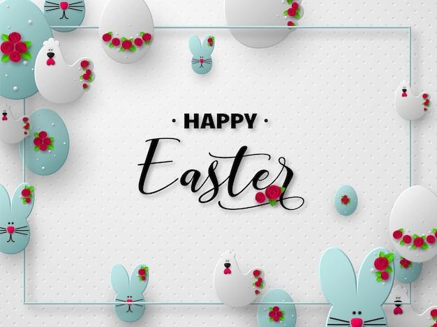 Wesołych świąt wielkanocnych. 3d wycinane z papieru jajka, króliczki i kury ozdobione kwiatami.