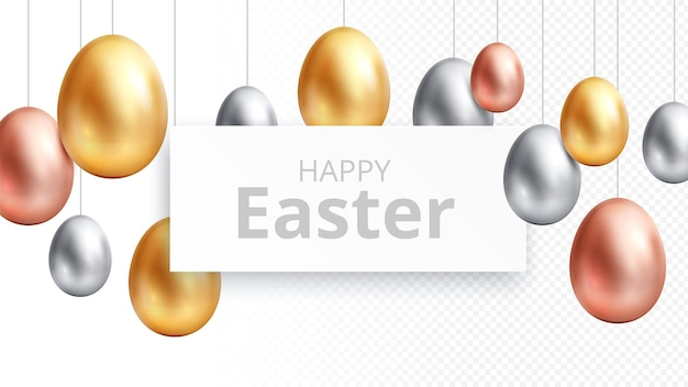 Wesołych świąt wielkanocnych. baner do polowania na jajka, plakat z okazji ogłoszenia z wiszącymi złotymi jajami. na białym tle elementy religijne uroczysty wiosna, ściany pozdrowienia. szczęśliwy transparent wielkanocny z ilustracji złota jaja