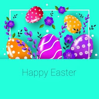 Wesołych świąt wielkanocnych banner ulotki lub karty z pozdrowieniami z ozdobnymi jajkami i kwiatami ilustracji