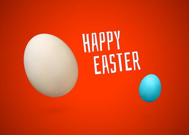 Wesołych świąt wielkanocnych białe i niebieskie jajko z realistycznym cieniem na czerwonym tle gradientowym