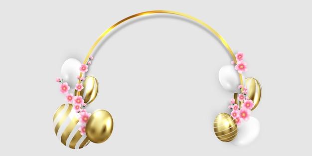 Wesołych świąt wielkanocnych. błyszczące zdobione złote jajka