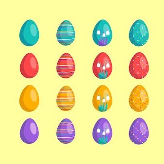 Wesołych świąt wielkanocnych duża kolekcja jajek z różnymi wzorami tekstur i świątecznymi dekoracjami na...