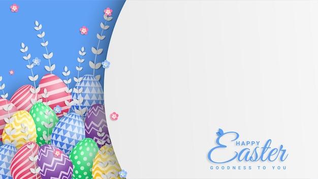 Wesołych świąt wielkanocnych ilustracja z kolorowe pisanki