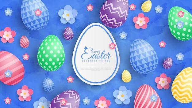 Wesołych świąt wielkanocnych ilustracja z kolorowym malowanym jajkiem