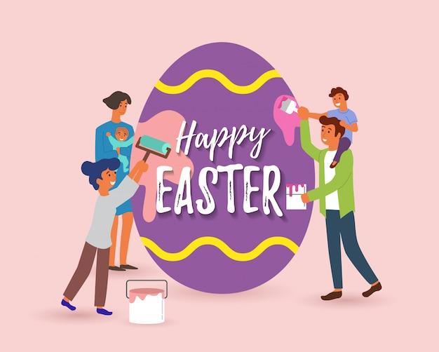 Wesołych świąt wielkanocnych kartkę z życzeniami ilustracja śmiesznych rodzinnych ludzi razem malujących duże jajko na specjalne wiosenne wakacje w stylu płaskiej kreskówki.