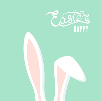 Wesołych świąt wielkanocnych kartkę z życzeniami z uszami królika. zajączek wielkanocny. ilustracja