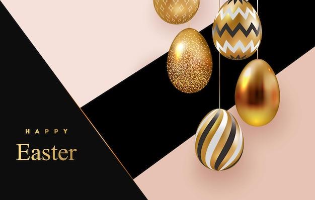 Wesołych świąt wielkanocnych kartki z białymi złotymi pisankami z geometrycznymi wzorami.
