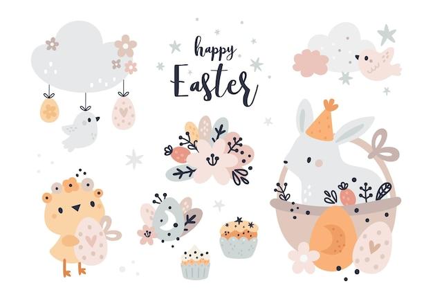 Wesołych świąt wielkanocnych kolekcja dla dzieci. królik, pisklę, jajka, chmury. moja pierwsza wielkanoc