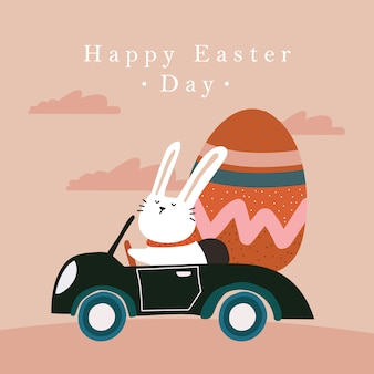 Wesołych świąt wielkanocnych - króliczek z samochodem