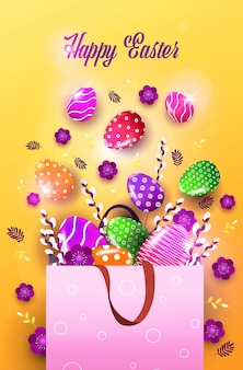 Wesołych świąt wielkanocnych obchody sprzedaży ulotki lub karty z pozdrowieniami z ozdobnymi jajkami i kwiatami w torbie na zakupy