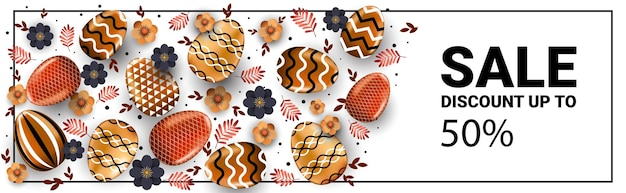 Wesołych świąt wielkanocnych obchody sprzedaży ulotki lub karty z pozdrowieniami z ozdobnymi jajkami poziomymi ilustracjami