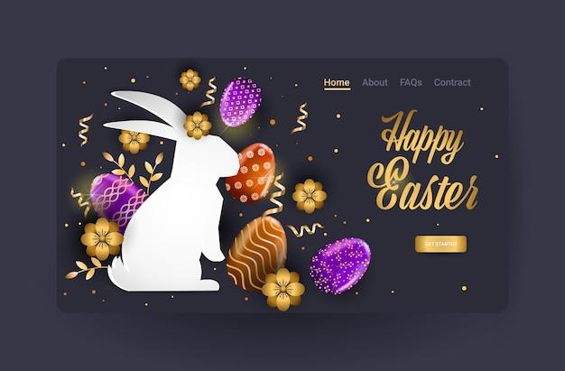 Wesołych świąt wielkanocnych obchody sprzedaży ulotki lub karty z pozdrowieniami z ozdobnymi jajkami w kształcie królika poziomej ilustracji
