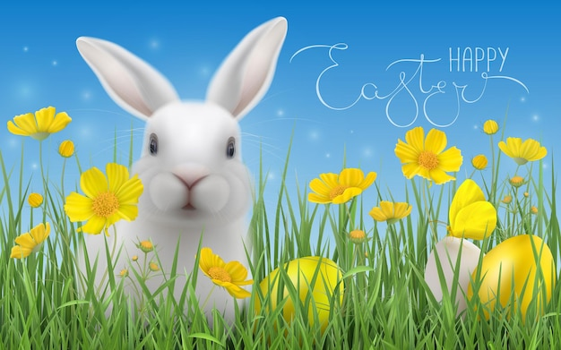 Wesołych świąt wielkanocnych pisanki, żółte kwiaty, biały króliczek siedzi w trawie