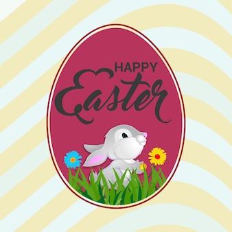 Wesołych świąt wielkanocnych plakat z kolorowym jajkiem wielkanocnym i króliczkiem wielkanocnym