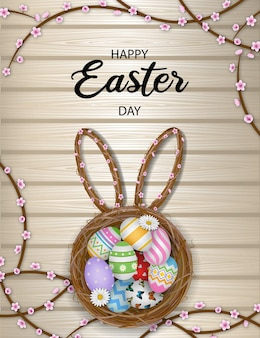 Wesołych świąt Wielkanocnych Plakat Z Kolorowymi Jajkami W Gnieździe Premium Wektorów