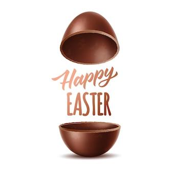 Wesołych świąt wielkanocnych realistyczne połówki jajka czekoladowego