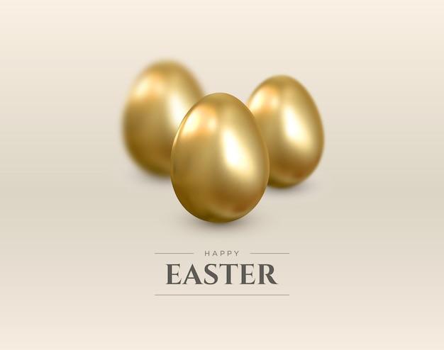 Wesołych świąt wielkanocnych. realistyczne tło ze złotymi jajkami. .