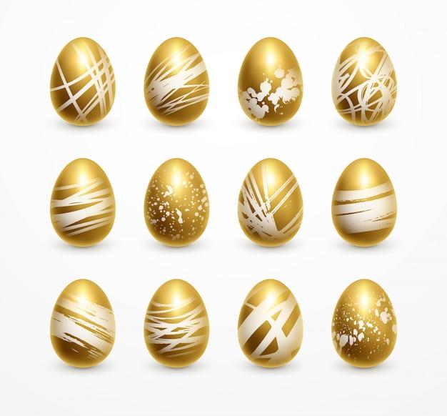 Wesołych świąt wielkanocnych realistyczny złoty połysk zdobione jajka zestaw