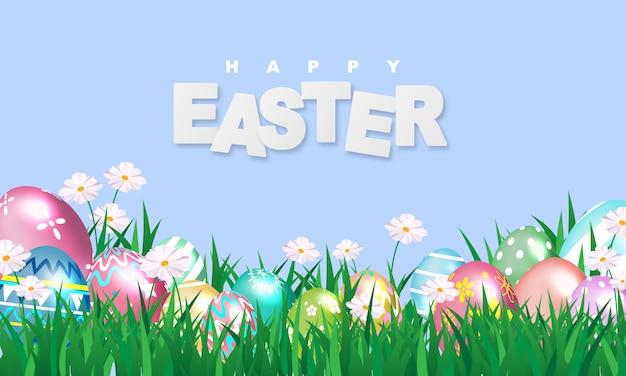 Wesołych świąt wielkanocnych. świecić zdobione jajka