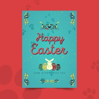 Wesołych świąt wielkanocnych szablon pionowy kartkę z życzeniami