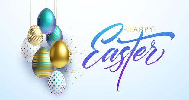 Wesołych świąt wielkanocnych tło napis z realistycznymi złotymi, białymi i niebieskimi błyszczącymi dekorowanymi jajkami 3d, konfetti. ilustracja wektorowa eps10