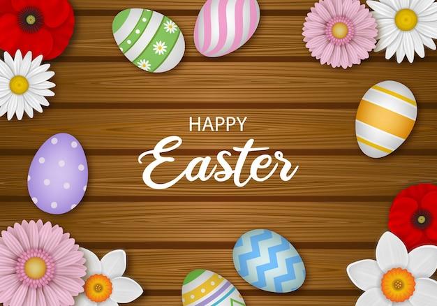 Wesołych świąt wielkanocnych tło z kwiatami i jajkami