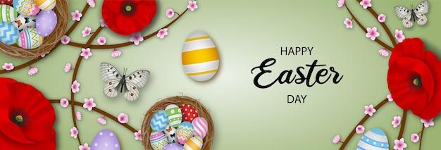 Wesołych świąt wielkanocnych transparent z kolorowych jaj, motyli i kwiatów