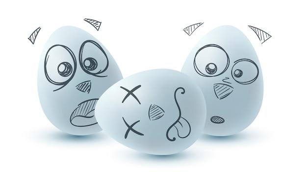 Wesołych świąt wielkanocnych. trzy jajka