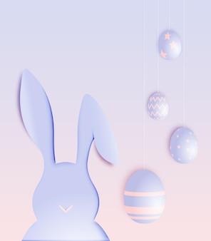Wesołych świąt wielkanocnych w stylu sztuki papieru z królikiem i jajkami