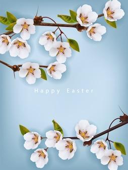 Wesołych świąt wielkanocnych. wiśniowe kwiaty tło