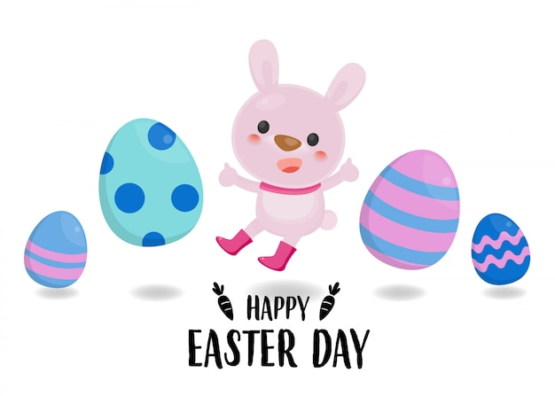 Wesołych świąt wielkanocnych z kolorowym jajkiem i słodkim królikiem. wielkanocny jajko na białym tle.