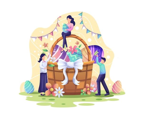 Wesołych świąt wielkanocnych z ludźmi wkładają jajka i kwiaty do koszyka na ilustrację wielkanocną