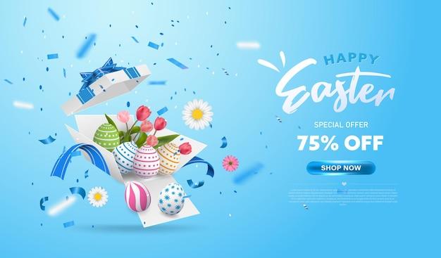 Wesołych świąt wielkanocnych z niespodzianką, białym pudełkiem prezentowym z kolorowymi jajkami, kwiatami tulipanów i niebieską wstążką. otwórz pudełko na białym tle. impreza, zakupy. transparent projekt niedzieli wielkanocnej.
